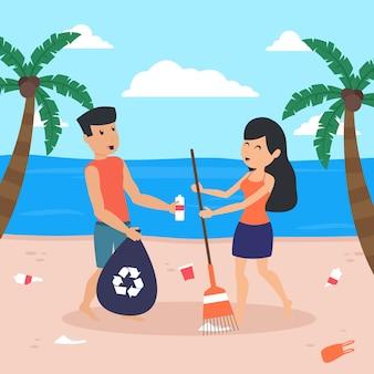 Geïllustreerde man en vrouw die samen het strand schoonmaken