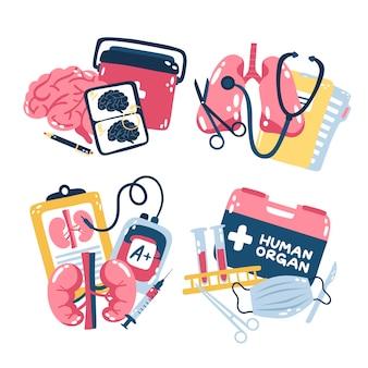 Geïllustreerde medische stickers set