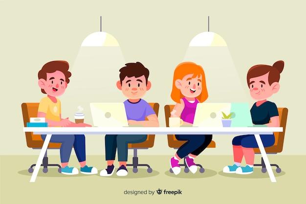 Geïllustreerde mensen die aan hun bureau werken