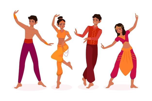 Geïllustreerde mensen die bollywood-ontwerp dansen
