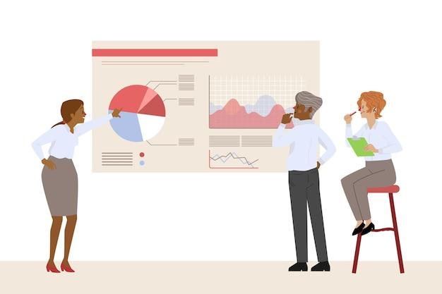 Geïllustreerde mensen die groeigrafieken analyseren