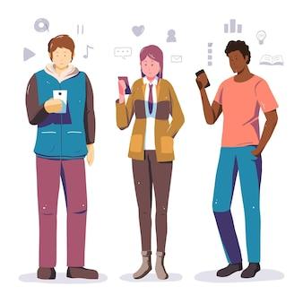 Geïllustreerde mensen die hun smartphones gebruiken