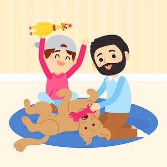 Geïllustreerde mensen die met hun huisdieren spelen