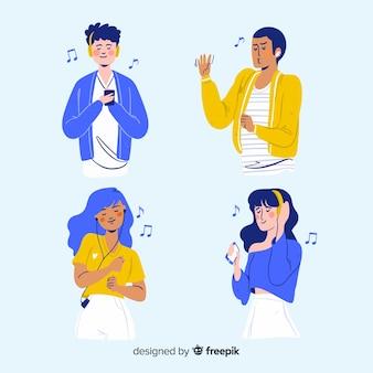 Geïllustreerde mensen die muziek luisteren op hun oortelefoonspak