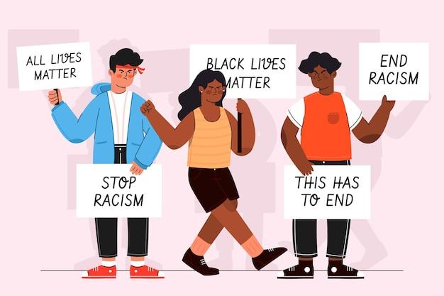Geïllustreerde mensen die protesteren tegen racisme