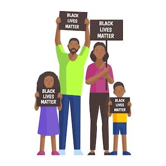 Geïllustreerde mensen die protesteren tegen rassendiscriminatie
