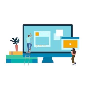 Geïllustreerde mensen met website-ontwikkeling