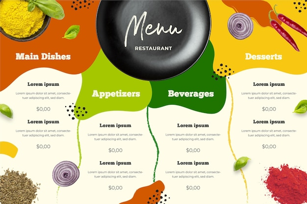 Geïllustreerde menusjabloon in horizontaal formaat voor digitaal platform
