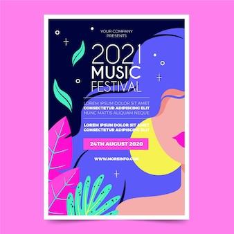 Geïllustreerde muziekfestival flyer sjabloon