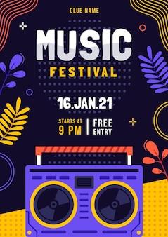 Geïllustreerde muziekfestival flyer