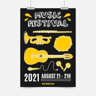 Geïllustreerde muziekfestivalaffiche