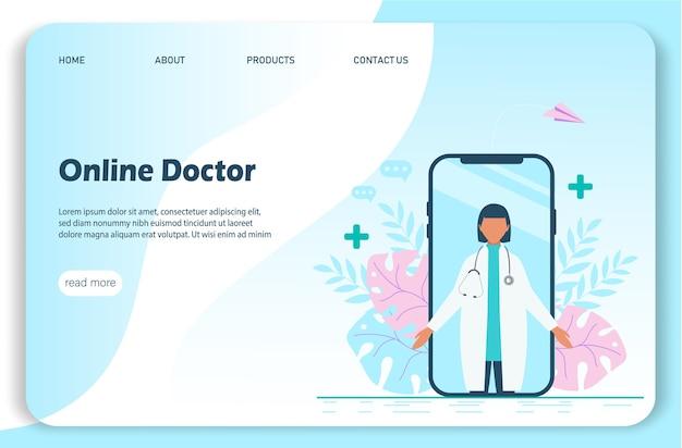 Geïllustreerde online arts op app voor videogesprek