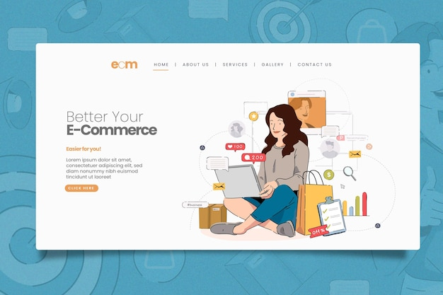Geïllustreerde online marketing webpagina-sjabloon