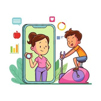 Geïllustreerde online personal trainer op app