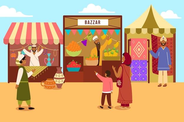 Geïllustreerde oosterse arabische bazaar