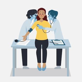 Geïllustreerde patiënt die een medisch onderzoek aflegt