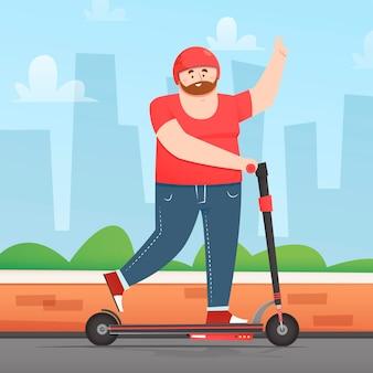 Geïllustreerde persoon die elektrische vervoermethode gebruikt