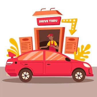 Geïllustreerde persoon die naar een drive-in raam gaat om eten te halen