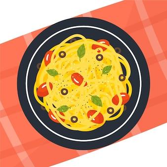 Geïllustreerde plaat met spaghetti