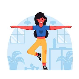 Geïllustreerde platte dansfitness thuis