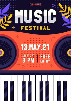Geïllustreerde poster muziekfestival