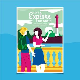 Geïllustreerde poster sjabloon voor reizen