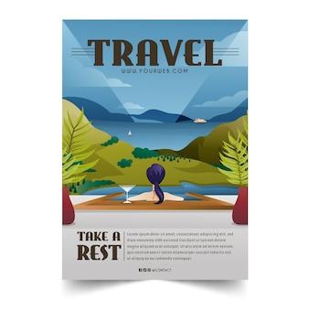 Geïllustreerde poster sjabloon voor reizende liefhebbers