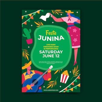 Geïllustreerde poster voor festa junina-evenement