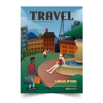 Geïllustreerde poster voor reizende liefhebbers