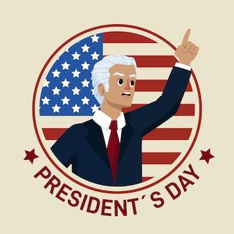 Geïllustreerde promo van de presidentendag met de mens
