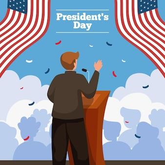 Geïllustreerde promo van het evenement van de president
