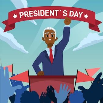 Geïllustreerde promo voor de dag van de president