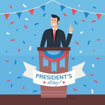 Geïllustreerde promo voor het evenement op de presidentiële dag