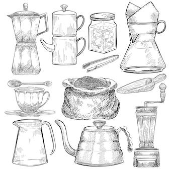 Geïllustreerde reeks hulpmiddelen voor het maken van koffie