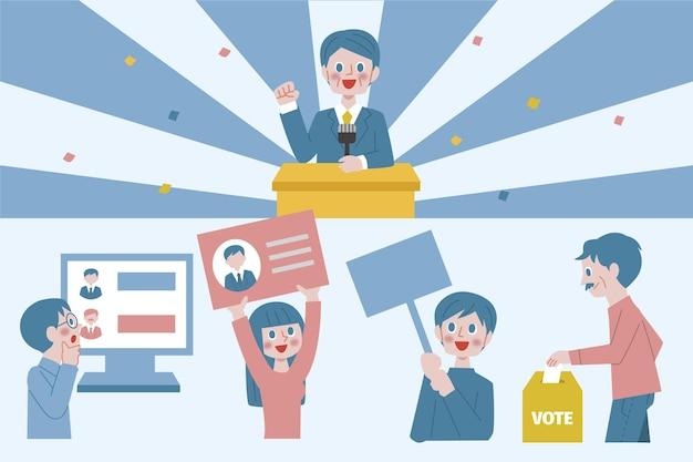 Geïllustreerde scènes van de verkiezingscampagne