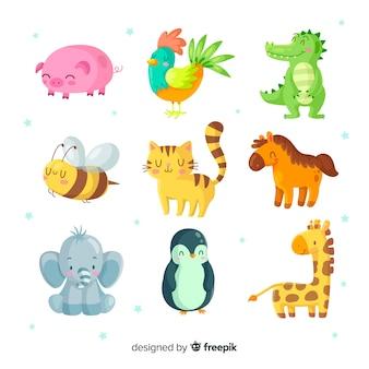 Geïllustreerde schattige dieren pack