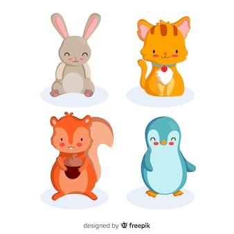 Geïllustreerde schattige dieren set