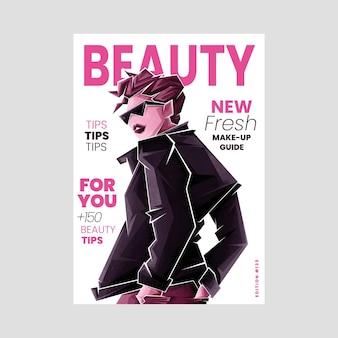 Geïllustreerde schoonheidstijdschriftomslag