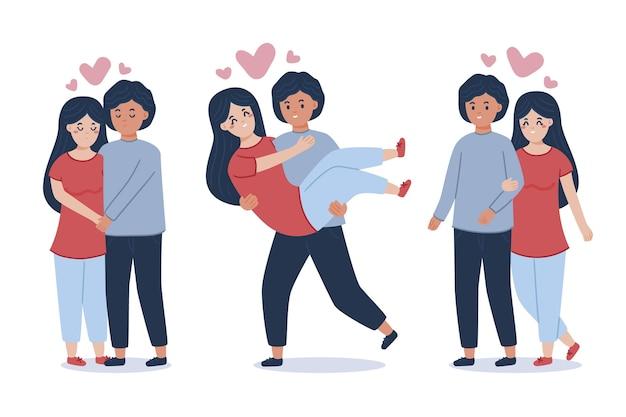 Geïllustreerde set van vriend en vriendin