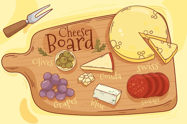 Geïllustreerde smakelijke kaasplank