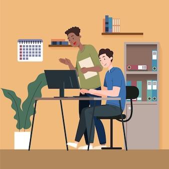 Geïllustreerde stagiair die advies inwint bij teamleider