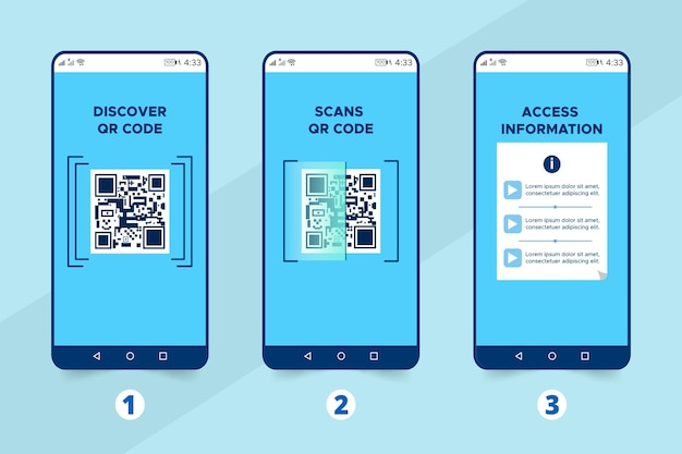 Geïllustreerde stappen bij het scannen van qr-codes
