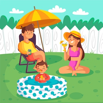 Geïllustreerde staycation in de achtertuin