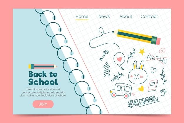 Geïllustreerde terug naar school webpagina