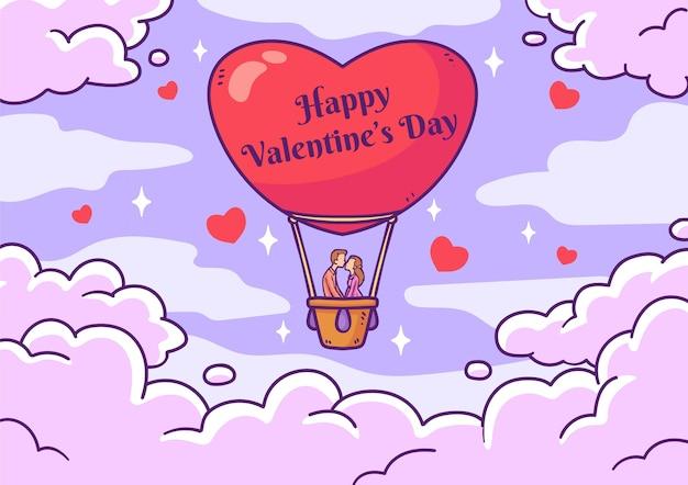 Geïllustreerde valentijnsdag achtergrond