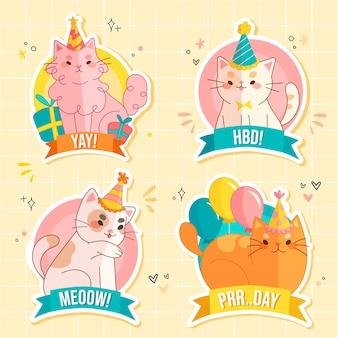 Geïllustreerde verjaardag kittens sticker collectie