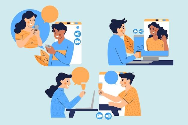 Geïllustreerde videoconferentiescène van vrienden