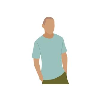 Geïllustreerde volwassen man met vrijetijdskleding