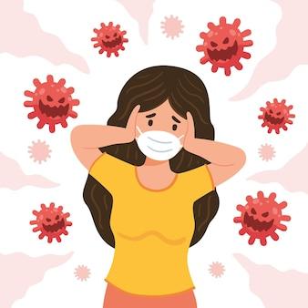 Geïllustreerde vrouw bang voor de ziekte van covid-19