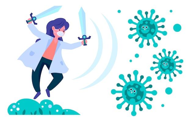 Geïllustreerde vrouw die het virus bestrijdt